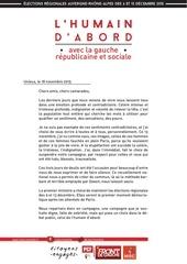 lettre aux militants reprise de la campagne