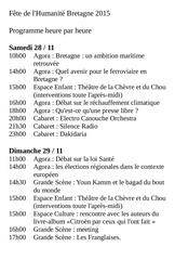 fete huma bretagne 2015 programme heure par heure