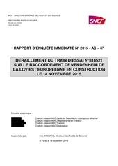 rapport denquete deraillement rame dessai 814521 sur le raccordement de la lgv ee le 14 novembre 2015