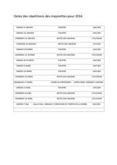 dates des repetitions des majorettes pour 2016