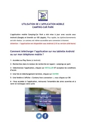 application mobile camping car park manuel d utilisation