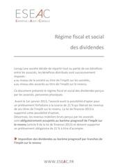 eseac regime fiscal et social des dividendes