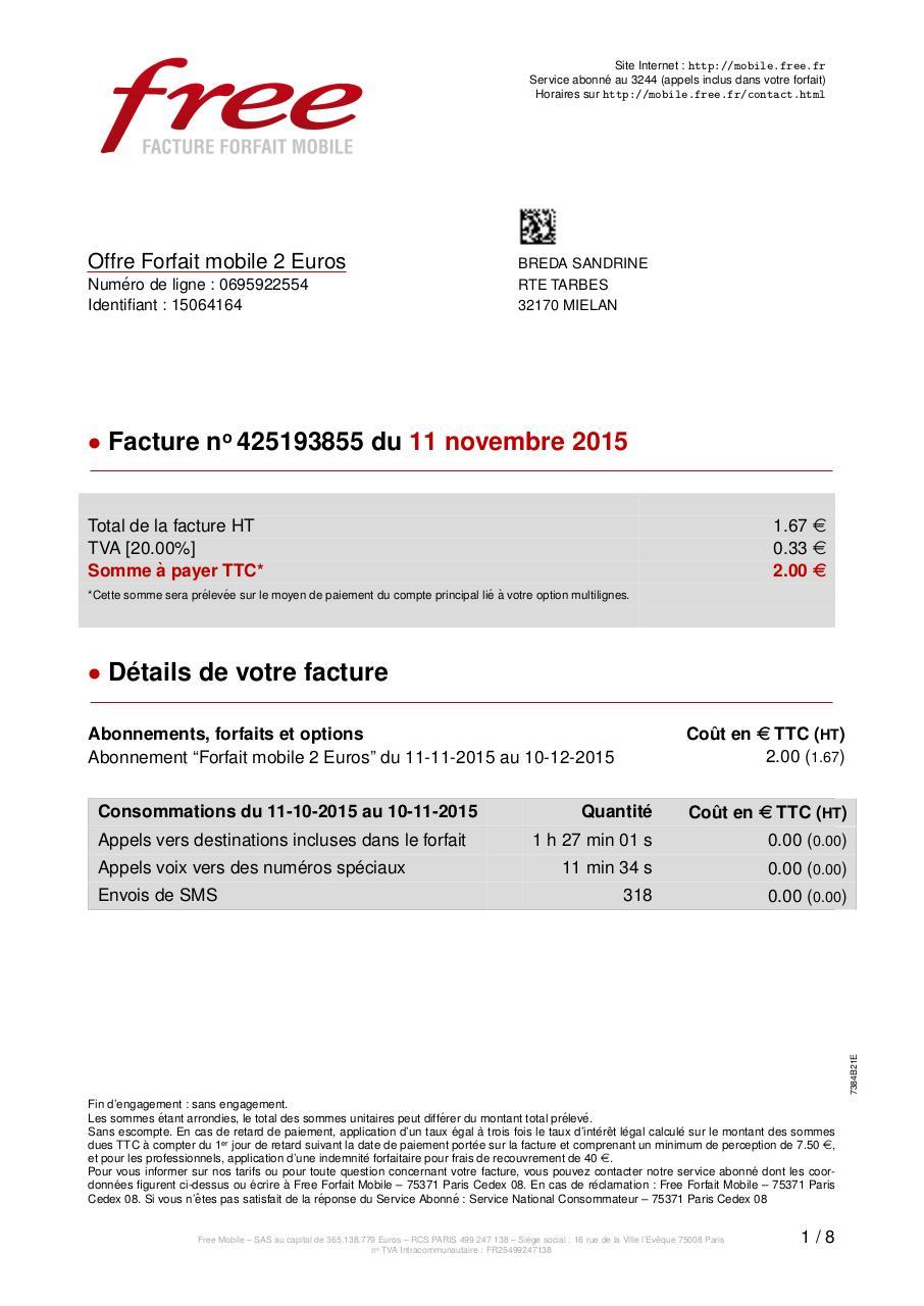 facture mobile free 425193855 par freemobile facture freemobile 20151111 pdf fichier pdf. Black Bedroom Furniture Sets. Home Design Ideas