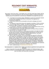 reglement staff bobbahotel