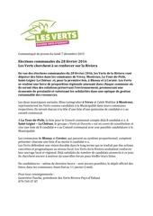 communique les verts riviera elections communales