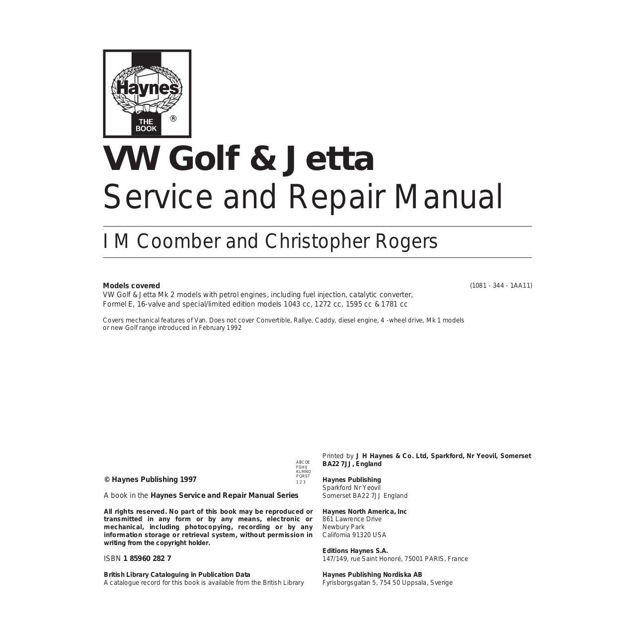 Haynes Golf2 84 92 Essence N 1081 Par Fourbi Revue Technique Vw Jetta 1 8t Timing Belt Volkswagen Golf 2 1984 1992