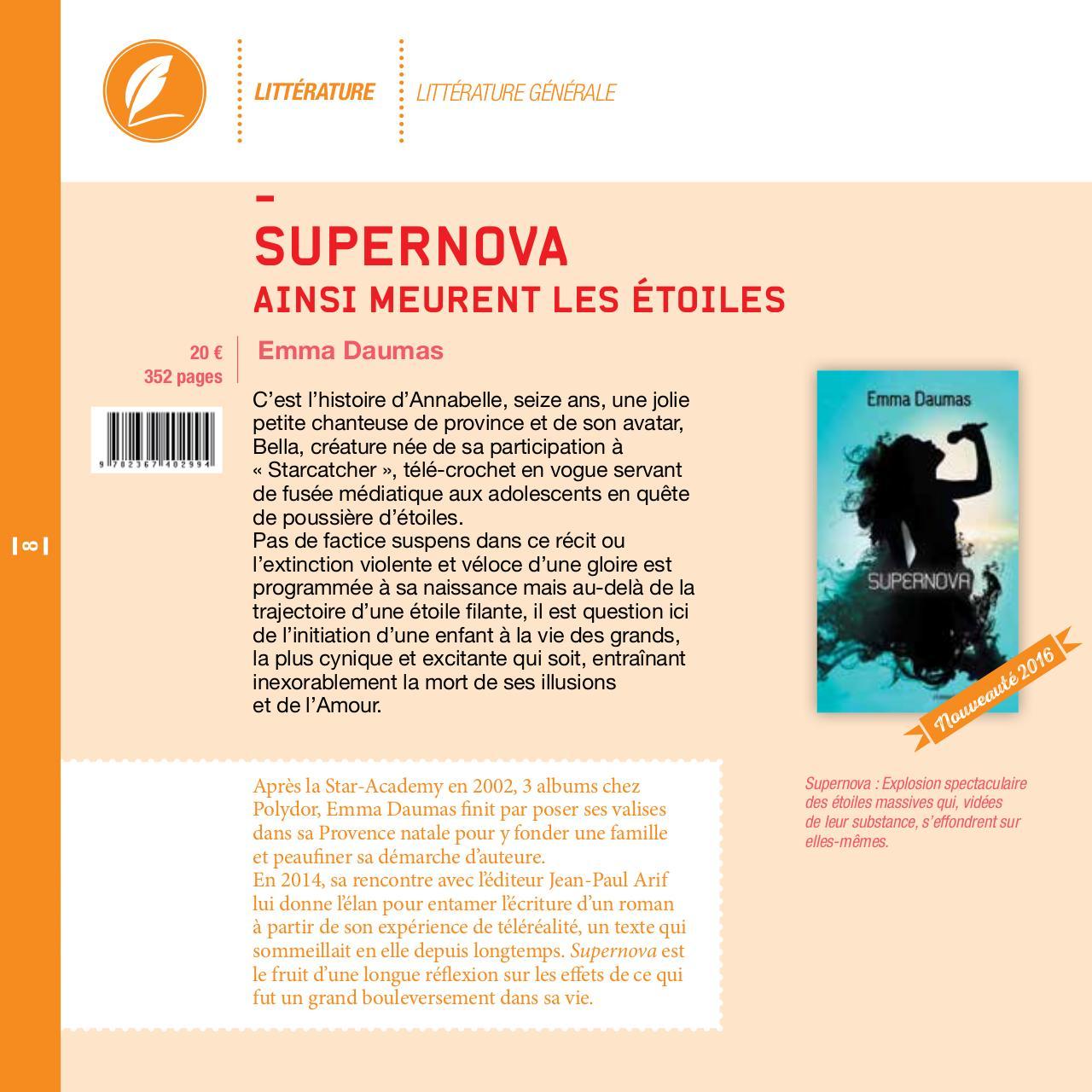 SUPERNOVA (Ainsi meurent les étoiles  ) auteure  Emma Daumas . Sortie le 7/04/16 Preview-scrineo-catalogue-2015-web-8
