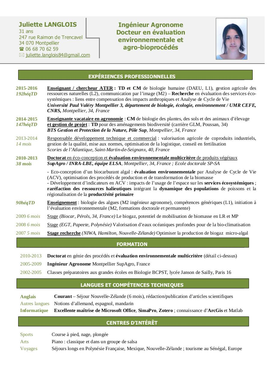 langlois juliette - cv pdf par juliette