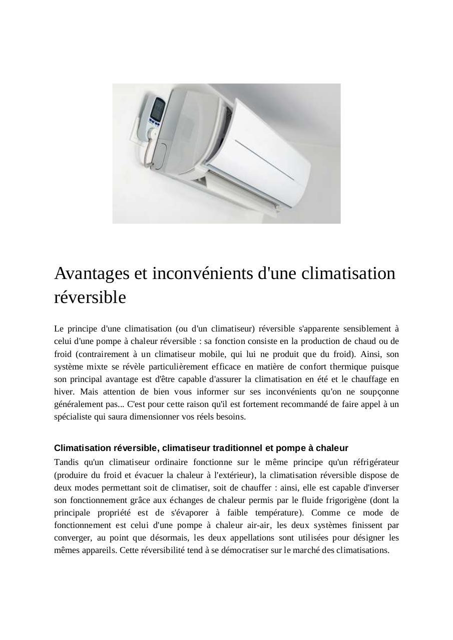 Credit Impot Chauffage Reversible avantages et inconvénients d'une climatisation réversible