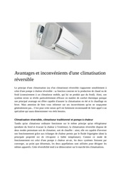 avantages et inconvenients d une climatisation reversible