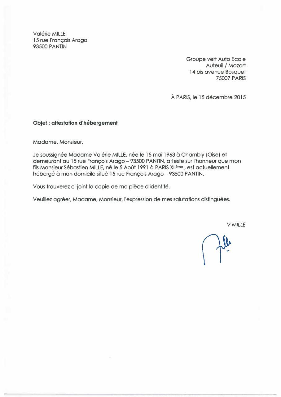 Attestation hébergement - Fichier PDF
