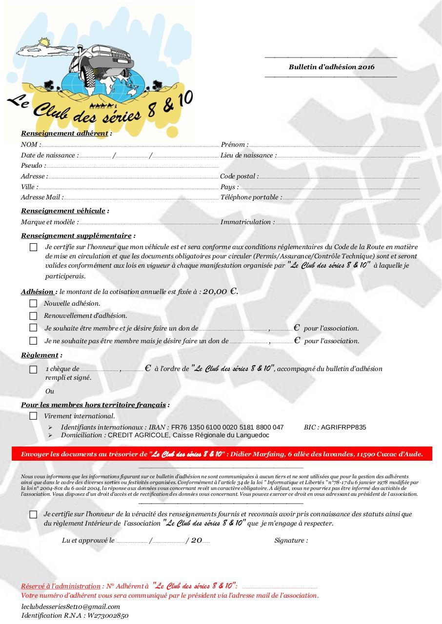 Bulletin d 39 adh sion r glement int rieur par for Reglement interieur association pdf