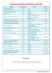 programme des emissions philatelique annee 2015
