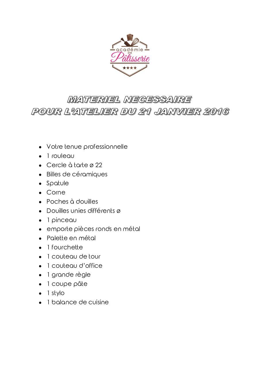 Liste Du Materiel Du 21 Janvier 2016 Par Josiane Video Fichier Pdf