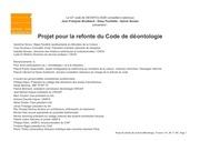 projet de refonte du code de deontologie 09 11 2015