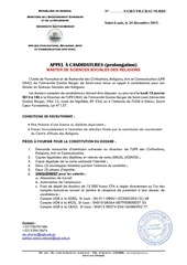 appel a candidature master ssr 16 prolongation
