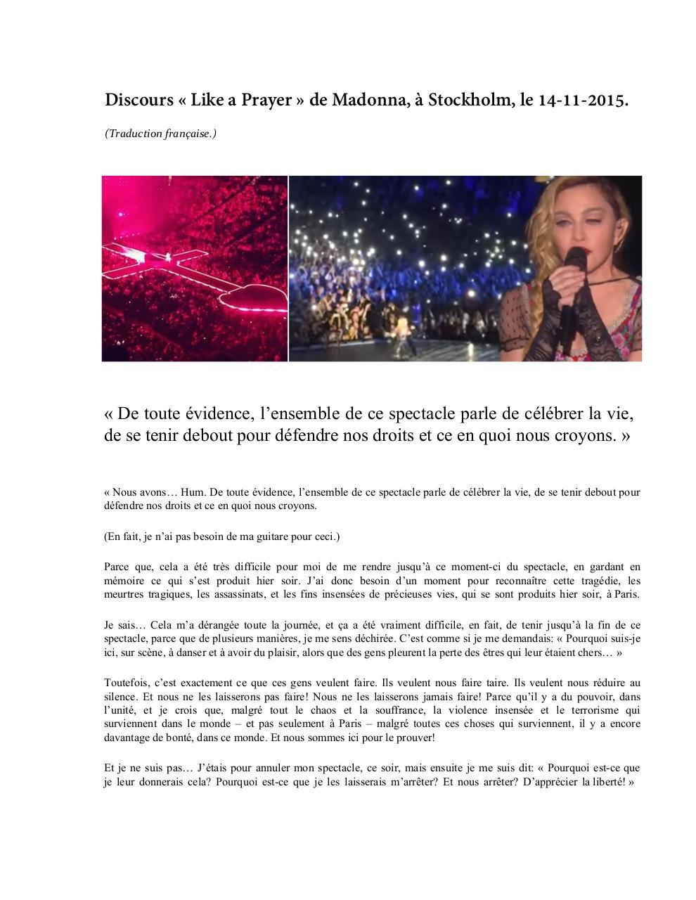 Madonnas Speech In Stockholm On 11 14 2015 Par Maude Pépin