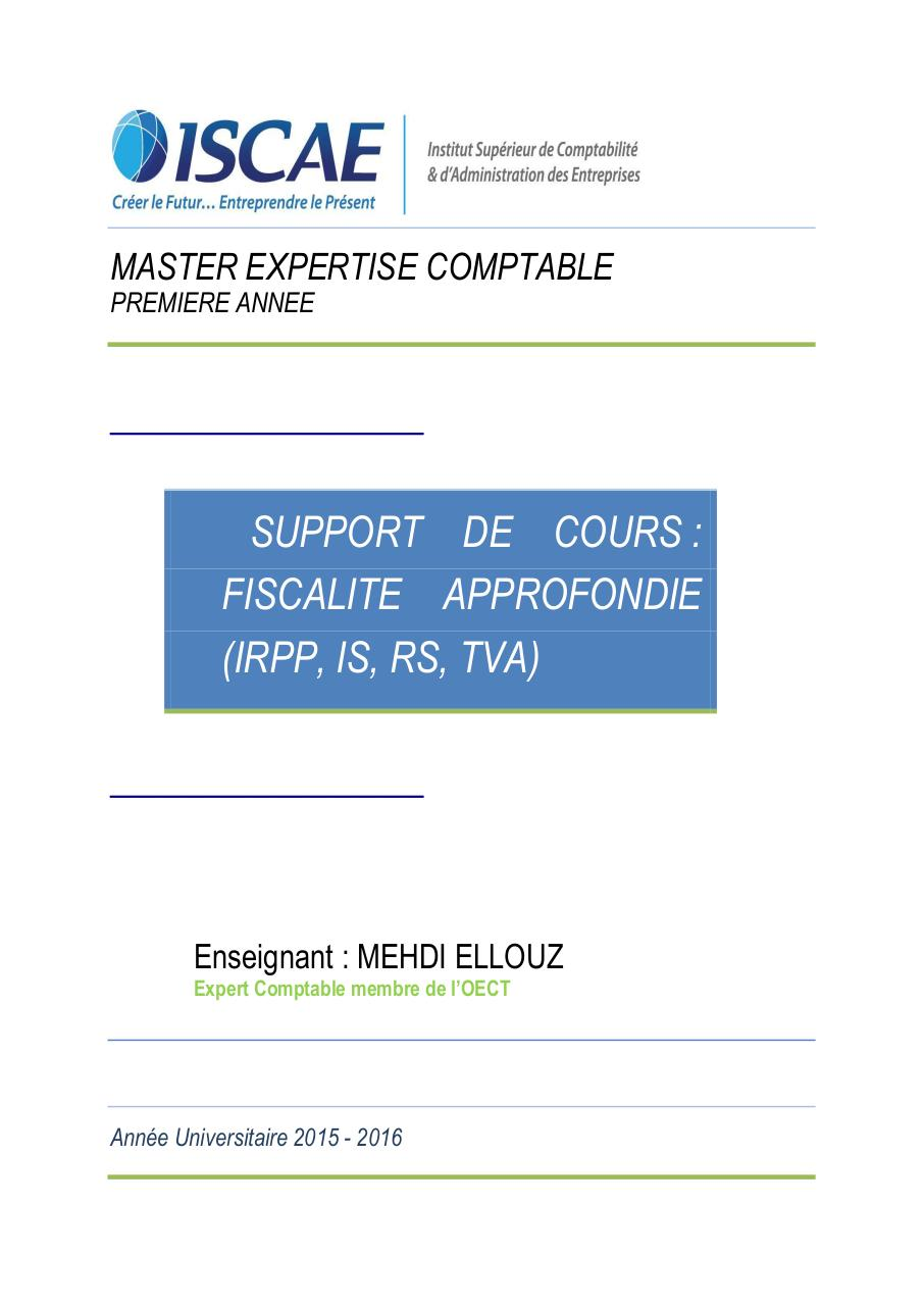 COURS FISCALITE APPROFONDIE ISCAE 2015.pdf - page 1/235