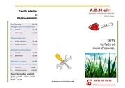tarifs adm new