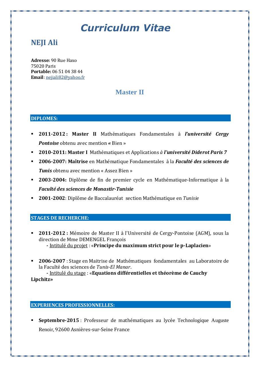 curriculum vitae par echa3er - cv pdf