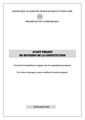 projet de revision de la constitution 28 decembre 2015 1