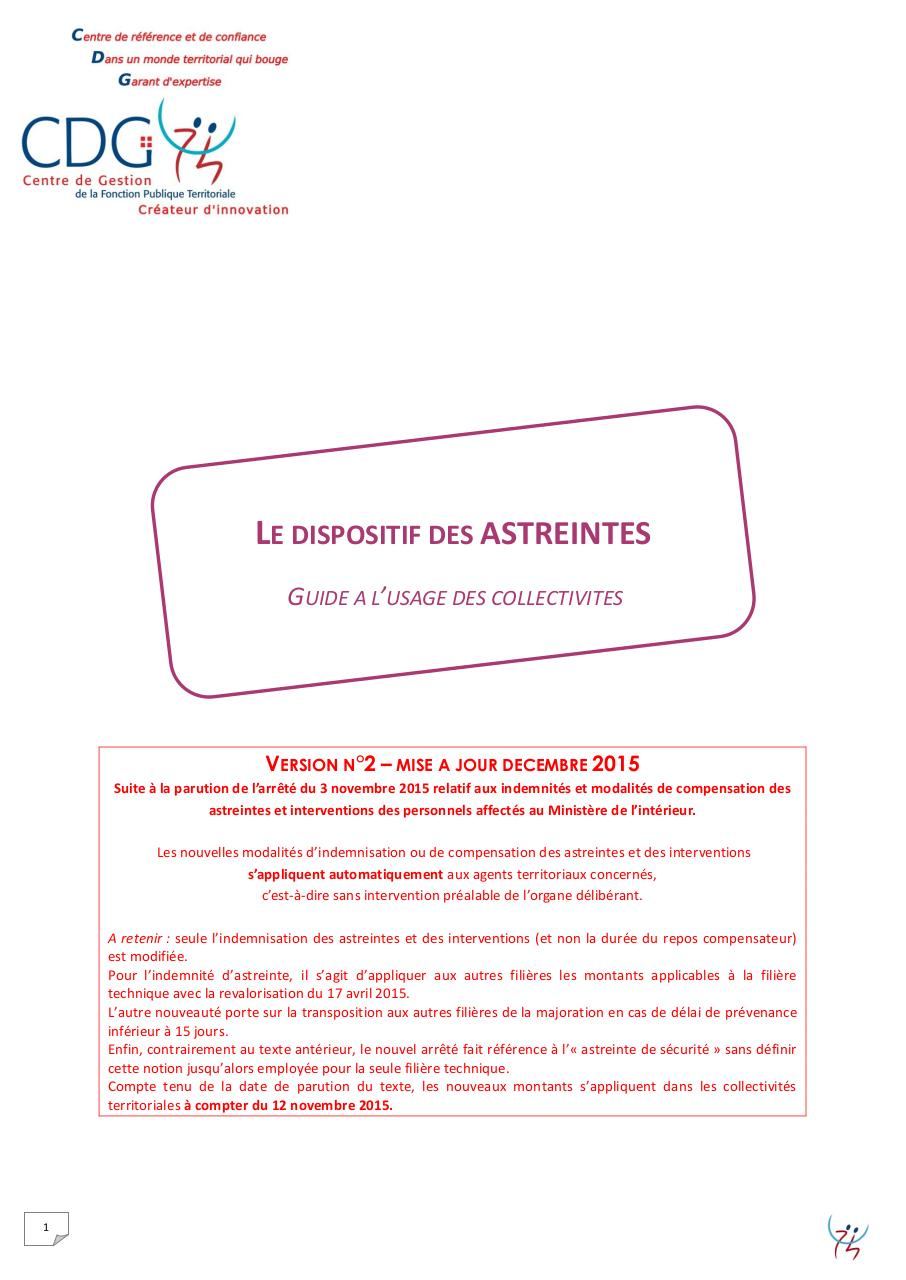 Guide Astreintes Cdg74 Version 2 Par Brigitte Kuznik