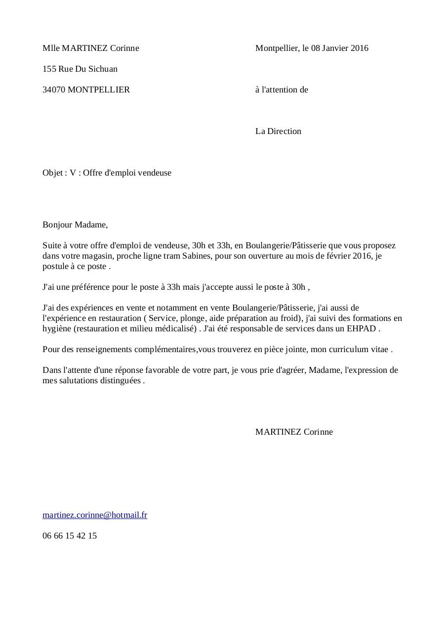 lettre de motivation cap patissier