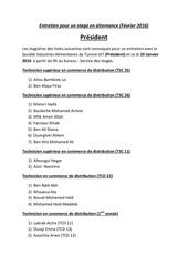 liste des stagiares convoques pour un entretien avec iat