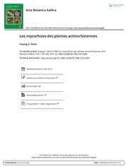 les mycorhizes des plantes actinorhiziennes