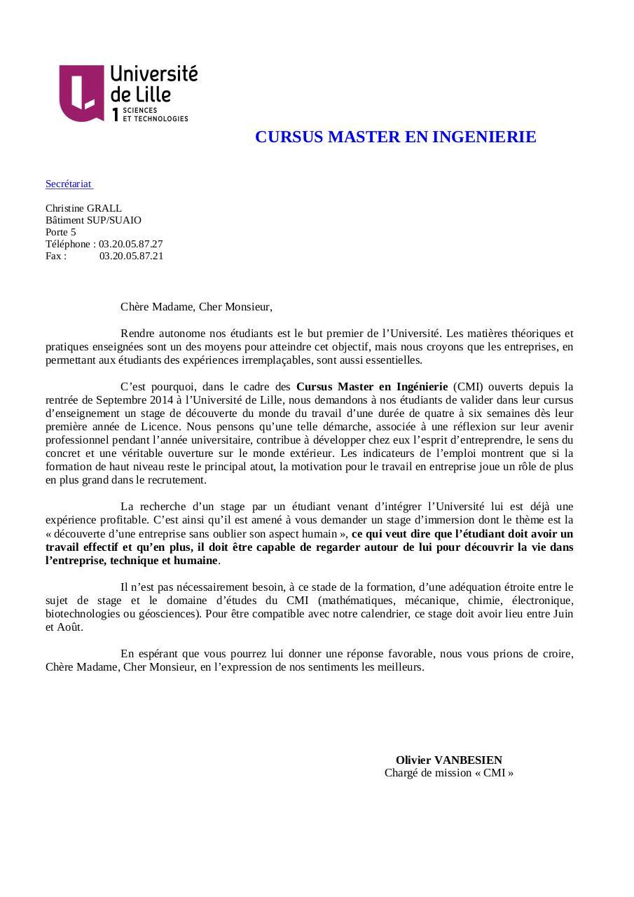 Lettre Stage Cmi F Par Secretariat Fichier Pdf