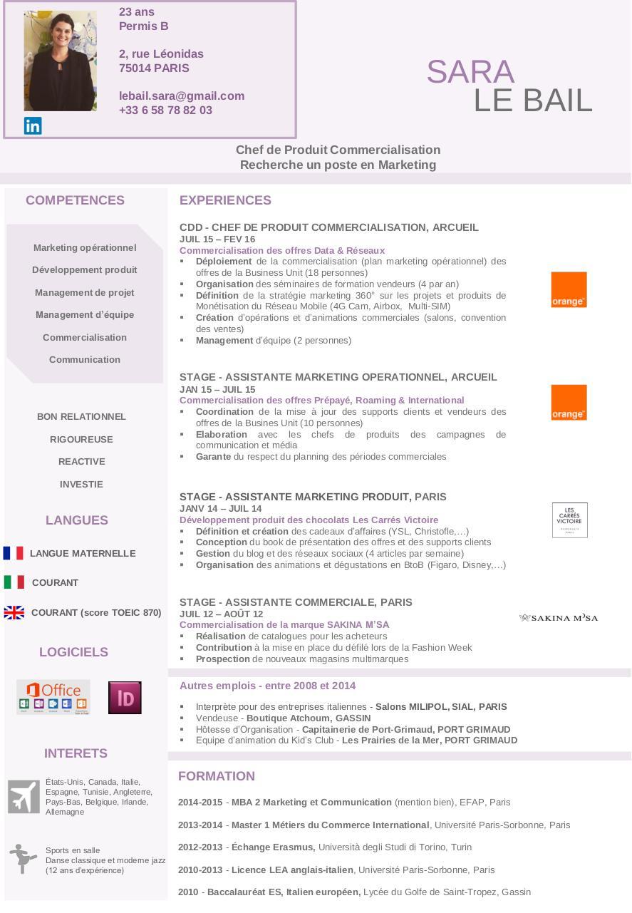 cv marion doc par mathieu canzerini - cv marion pdf - page 1  1