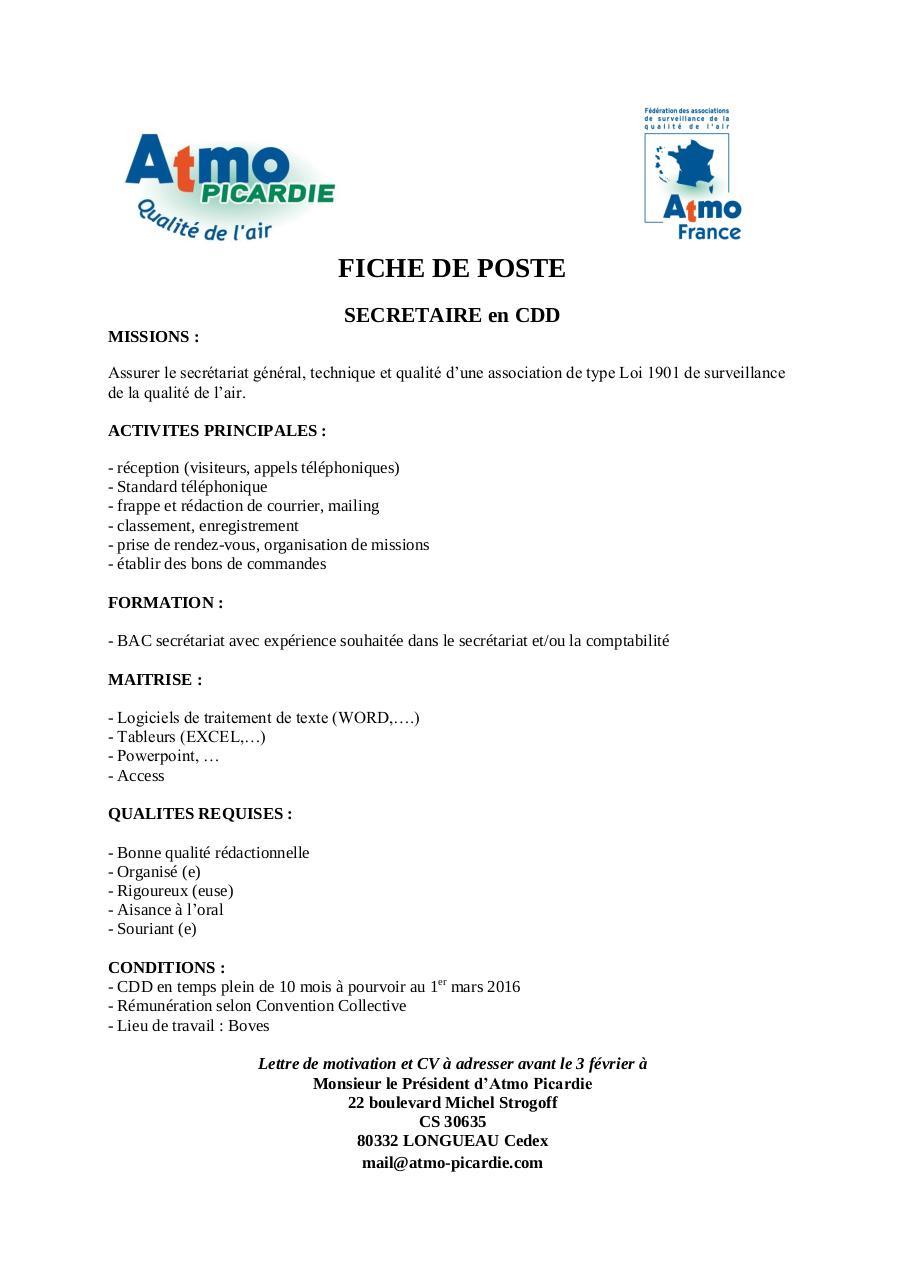 Fiche De Poste Secretariat 22 01 2016 2 Par Benoit Fichier Pdf