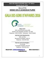 mise en candidature 2016t