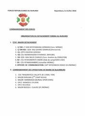 organisation du detachement forebu au burundi