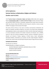 nationalism religion and violence summer seminar