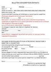 bulletin d inscription enfant a5