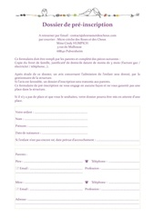 Fichier PDF pre inscription