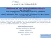 stage developper sa voix du 26 mars 2016