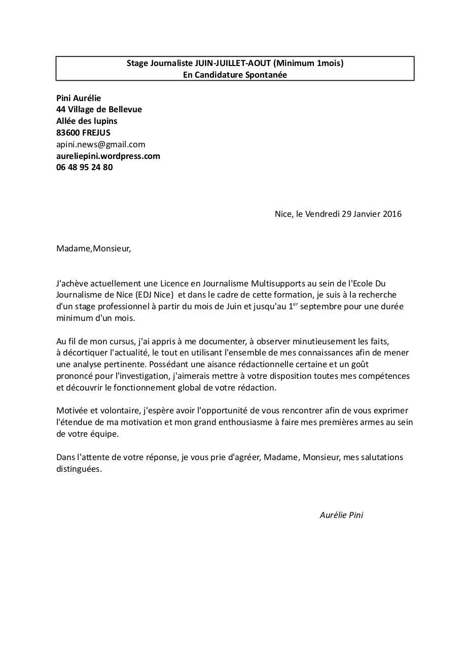 lettre de motivation stage technicien dusinage