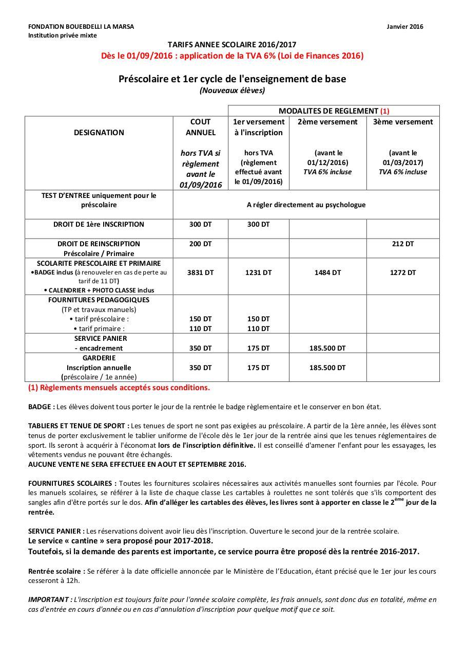 tarifs la marsa 2016 2017 docx 2 par camille credy ellafi fichier pdf. Black Bedroom Furniture Sets. Home Design Ideas