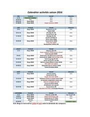 calendrier activites saison 2016 2