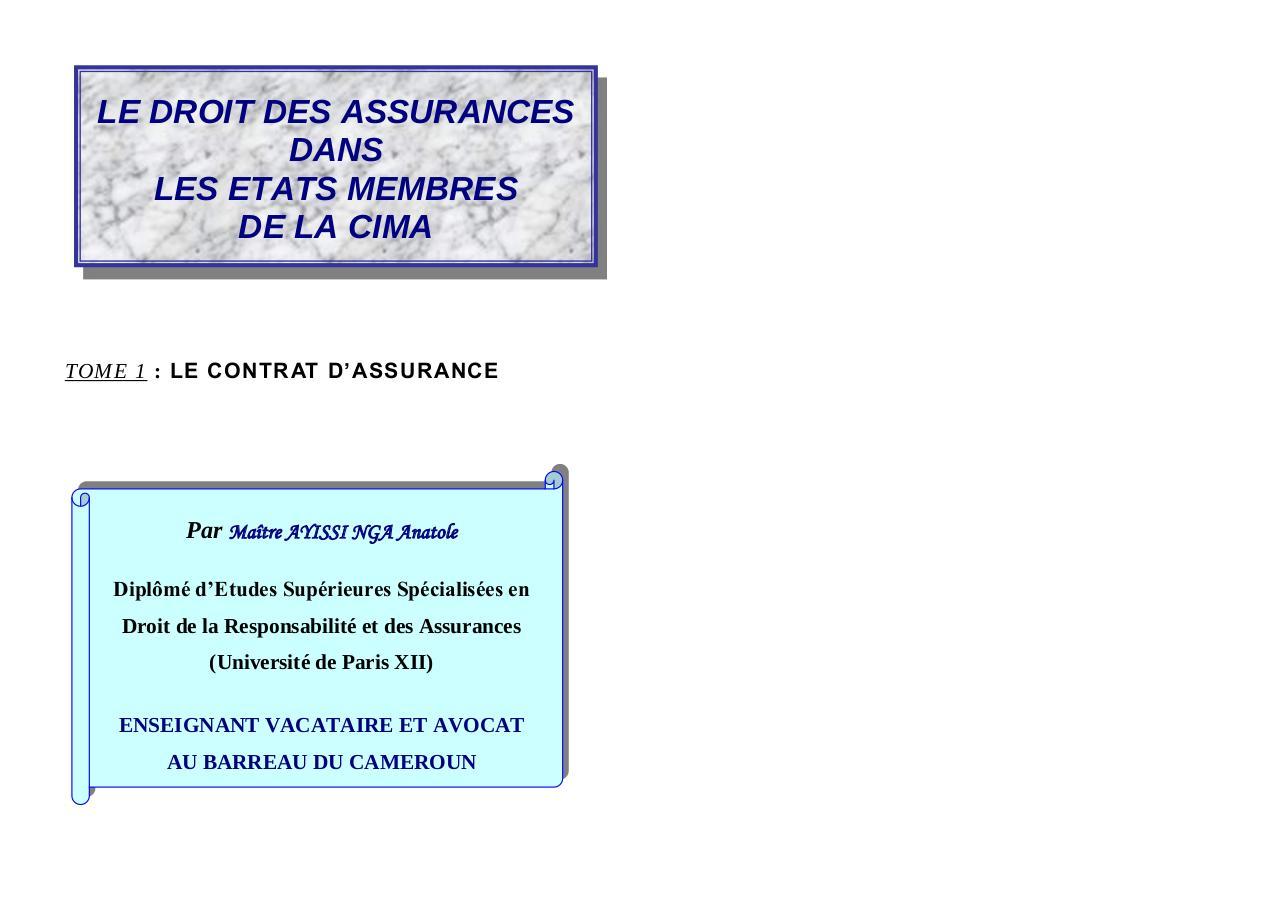 Cours Droit Des Assurances Cima Document Final Par Me Ayissi Nga