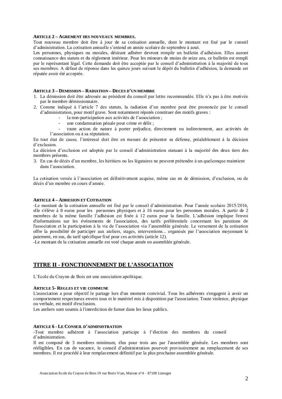 Reglement interieur ecb juin 2015 par infocentre fichier pdf for Reglement interieur association pdf