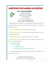 adoption d un animal au refuge