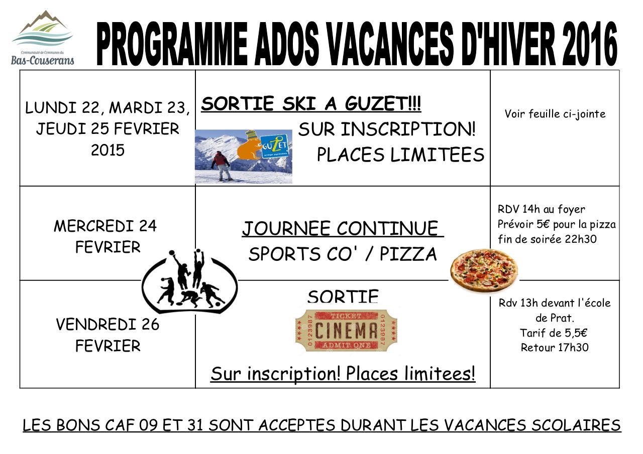 Programme vacances hiver 2016 ados programme vacances hiver 2016 fichier pdf - Vacances scolaires hiver 2016 ...