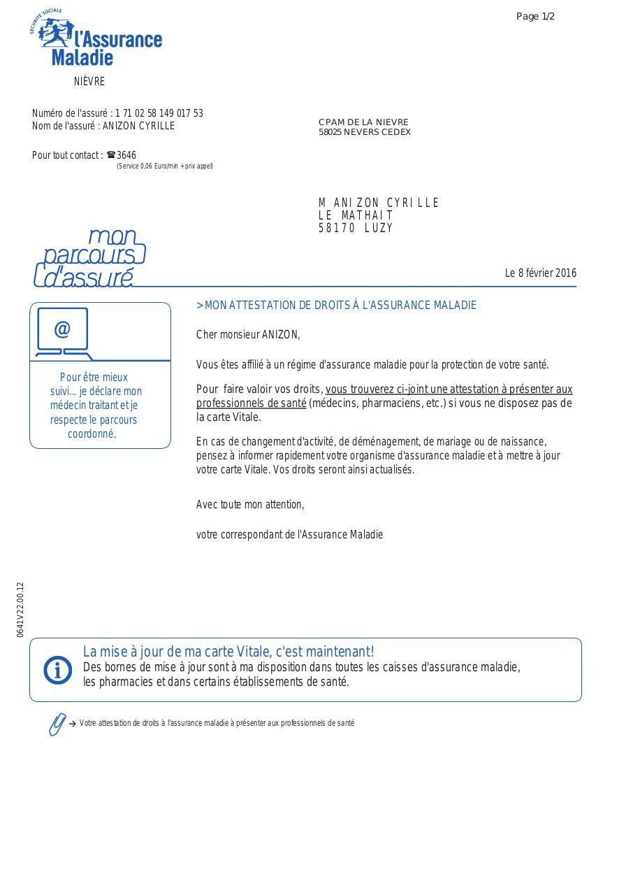 Carte Assurance Maladie Naissance.Attestation De Droit D Assurance Maladie