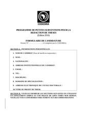 formulaire de candidature petites subventions 2015 2