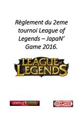 reglement du 2eme tournoi league of legends