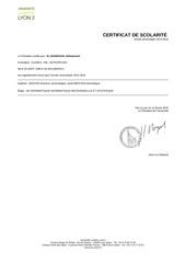 certificat scolarite
