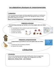 les adaptations physiques et comportementales refaire